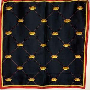 Talbots Silk Scarf Black Gold Red Logo Ponytail